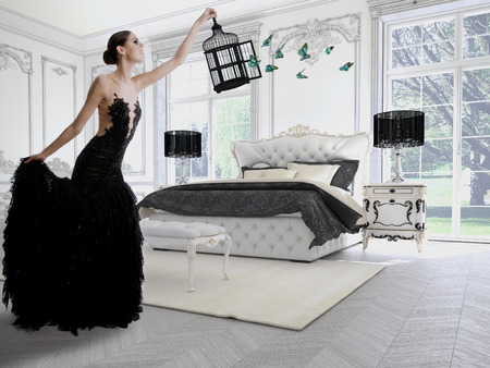Beautiful girl in a classic room with butterflies. 3d rendering 版權商用圖片