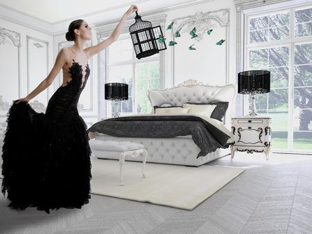 Schönes Mädchen in einem Klassik Zimmer mit Schmetterlingen. 3D-Rendering Standard-Bild - 34391424