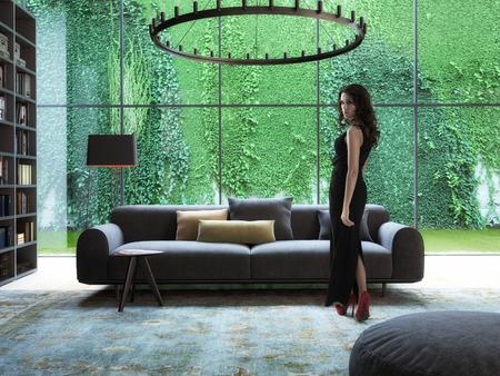 mujer elegante: Una mujer moderna sexy en interior. Las 3D Foto de archivo