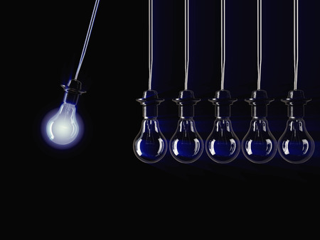 reasoning: An illuminated fluorescent light bulb connected to an electrical cable Stock Photo