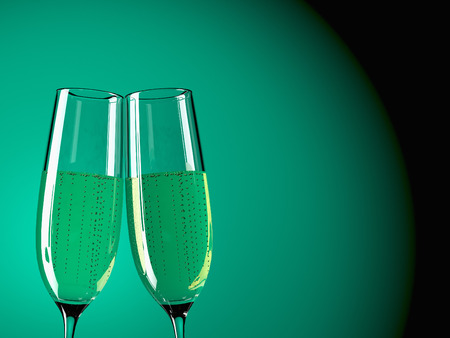 two glass with champagne on a  table Stock Photo