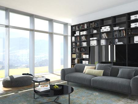 3 d rendering.modern のソファと木本棚リビング ルーム