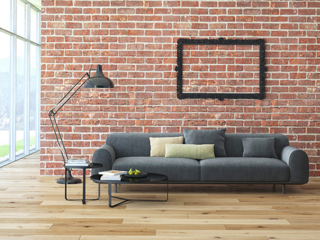 Loft interior with brick wall and coffee table. 3d rendering photo