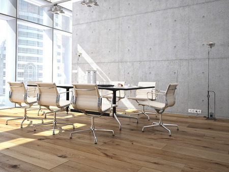 Conference room interior with a concret wall. 3d rendering photo