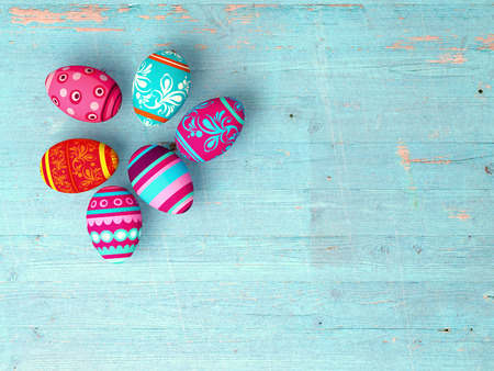 復活祭の卵コピー スペースを木製のテーブル背景