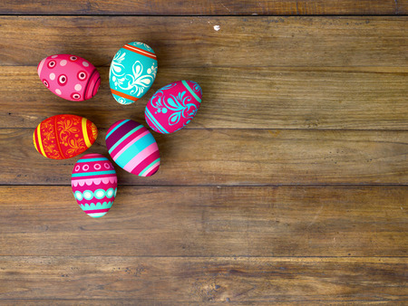 Easter eggs on wooden table background with copy space Stock Photo