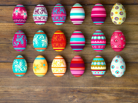 easter decorations: Easter eggs on wooden table background with copy space Stock Photo