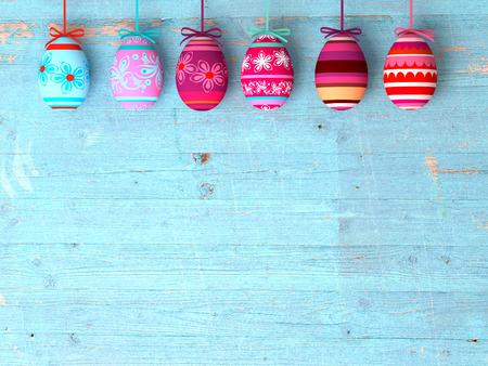 Oeufs de Pâques sur table en bois de fond avec copie espace Banque d'images - 35469909