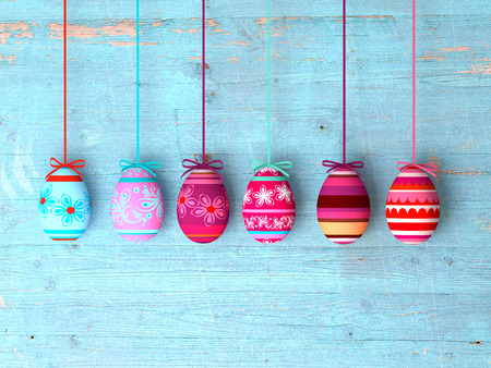 Easter eggs on wooden table background with copy space Stockfoto