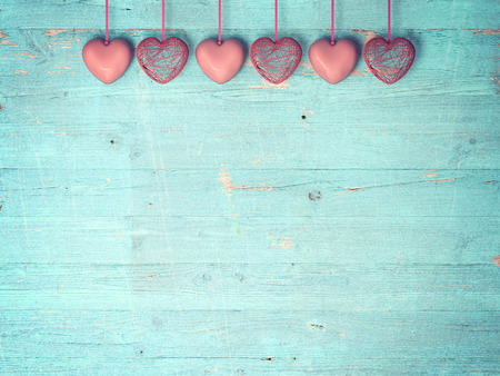 red heart on wooden background, Valentines Day background photo