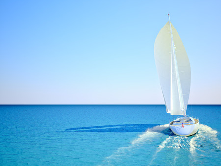 Sailboat racing in the blue and calm ocean against sky. 3d rendering