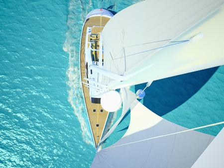 ヨットの船上リラックスした若いカップル。3 d レンダリング