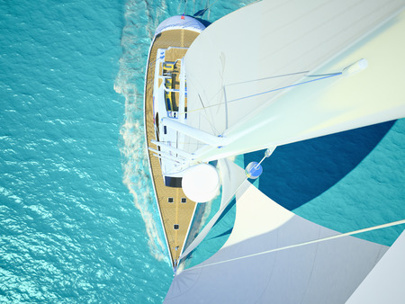 Young couple relaxing on board of the yacht. 3d rendering