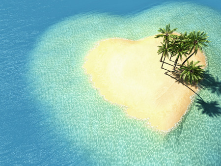 top: illustration landscape of  heart island in the ocean. 3d rendering