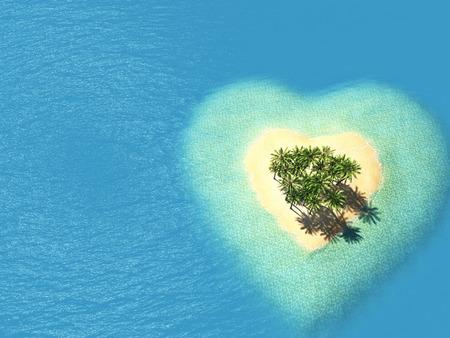 illustratie landschap van het hart eiland in de oceaan. 3D-rendering