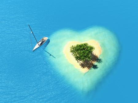 illustration landscape of  heart island in the ocean. 3d rendering