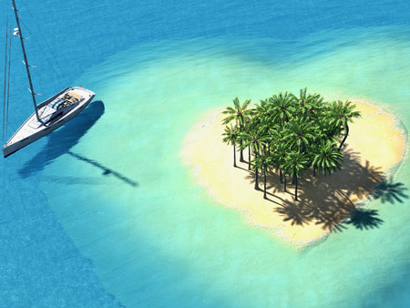 ocean view: illustration landscape of  heart island in the ocean. 3d rendering