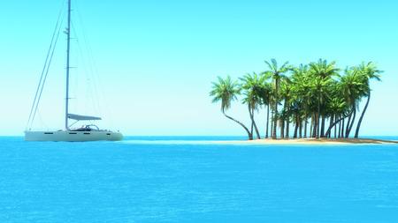 双胴船を熱帯の浅瀬でシュノーケ リング。3 d レンダリング 写真素材