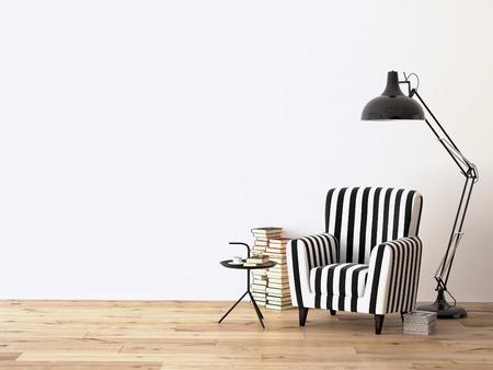 woonkamer met een fauteuil, lamp en boeken, 3D-rendering Stockfoto