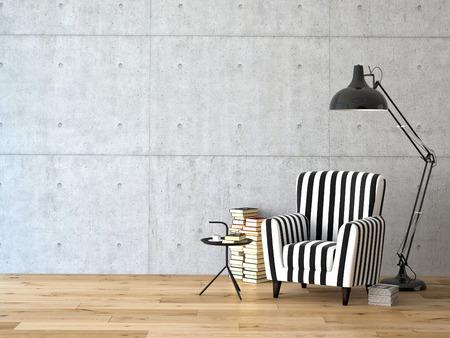 肘掛け椅子、ランプ、書籍、3 d レンダリングとリビング ルーム 写真素材