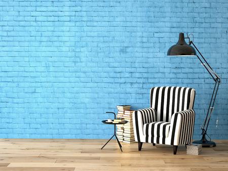 papeles oficina: sala de estar con un sill�n, l�mpara y libros, representaci�n 3D Foto de archivo