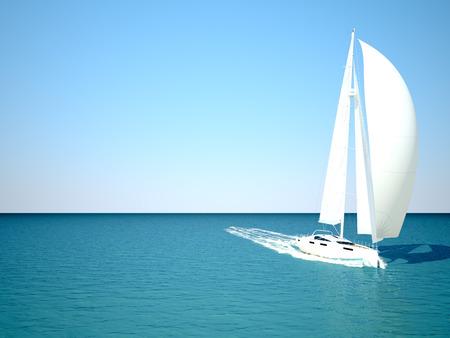 fiji: Snorkeling in shallow tropical water off the catamaran. 3d rendering Stock Photo