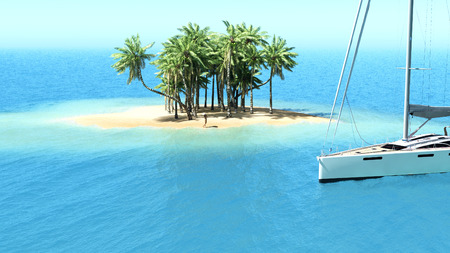 desert island: Snorkeling in shallow tropical water off the catamaran. 3d rendering Stock Photo