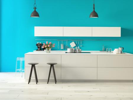 Rendu 3d. Cuisine luxueuse avec des appareils en acier inoxydable dans un appartement moderne Banque d'images - 36867650