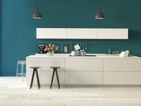 3D-rendering. Luxe keuken met roestvrijstalen apparatuur in een modern appartement Stockfoto - 36867655