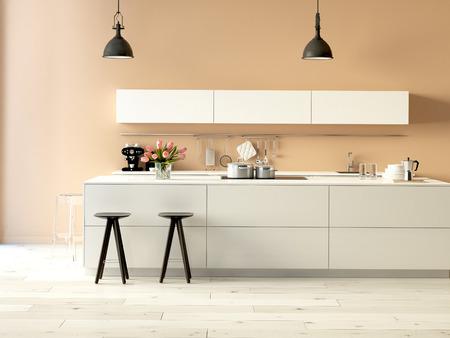 3D-Rendering. Luxuriöse Küche mit Edelstahl-Geräte in einer modernen Wohnung Lizenzfreie Bilder