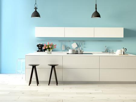 Rendu 3d. Cuisine luxueuse avec des appareils en acier inoxydable dans un appartement moderne Banque d'images - 36867705
