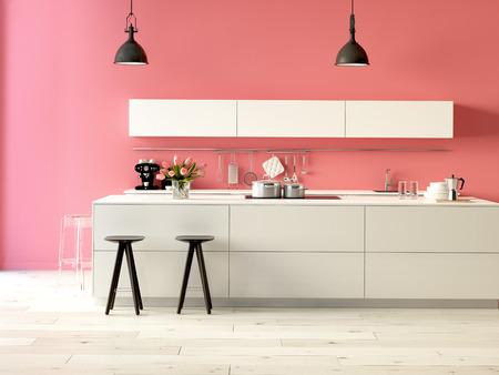 3D-rendering. Luxe keuken met roestvrij stalen apparatuur in een modern appartement Stockfoto