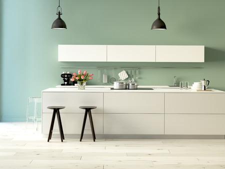 Rendu 3d. Cuisine luxueuse avec des appareils en acier inoxydable dans un appartement moderne Banque d'images - 36867709