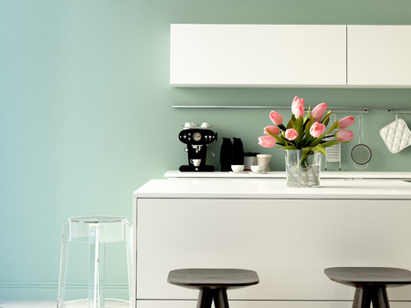 3D 렌더링합니다. 현대 아파트 스테인레스 스틸 제품과 함께 고급스러운 주방 스톡 콘텐츠