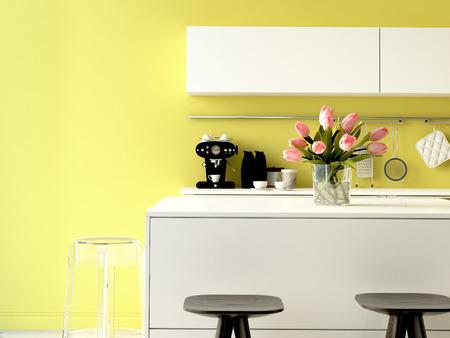 3 d レンダリング。モダンなアパートメントでステンレス鋼の電気器具と豪華なキッチン