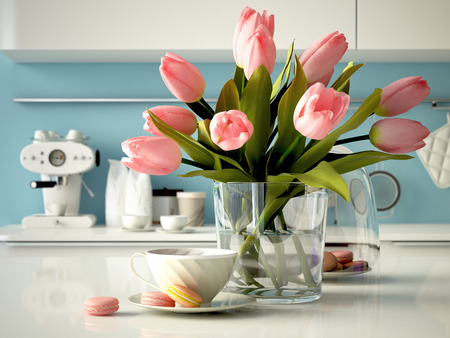 vases: a fresh yellow tulips on kitchen background. 3d rendering