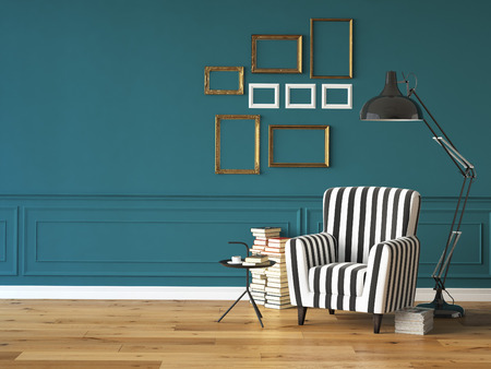 marca libros: sala de estar con un sill�n, l�mpara y libros, representaci�n 3D Foto de archivo