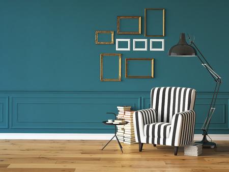 Wohnzimmer mit einem Sessel, Lampe und Bücher, 3D-Rendering