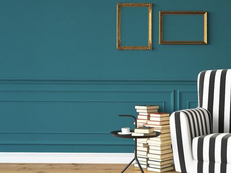 marca libros: sala de estar con un sillón, lámpara y libros, representación 3D Foto de archivo