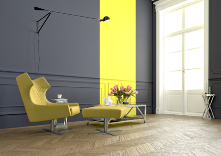 arm chair: a modern room with an an arm chair in a luxury apartment. 3d rendering