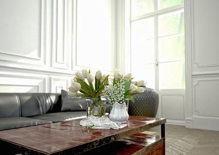 woonkamer met een moderne bank in een appartement. 3D-rendering Stockfoto
