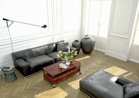 living room with a modern couch in an apartment. 3d rendering