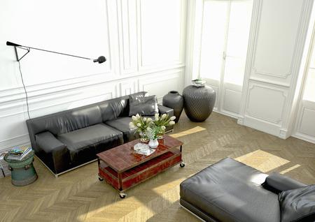 Wohnzimmer mit modernen Couch in einer Wohnung. 3D-Rendering Lizenzfreie Bilder