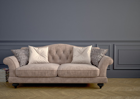 antique fashion: Beautiful vintage sofa next to wall. 3d rendering Stock Photo