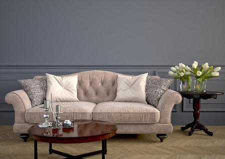壁の横にある美しいビンテージ ソファ。3 d レンダリング 写真素材 - 36867895