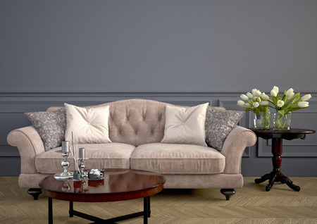 Beautiful vintage sofa next to wall. 3d rendering Imagens