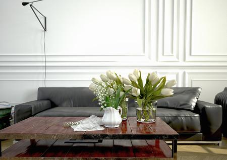 アパートでモダンなソファ付きのリビング ルーム。3 d レンダリング