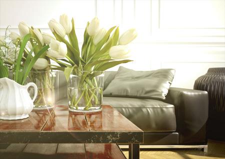アパートのモダンなソファのリビング ルーム。3 d レンダリング