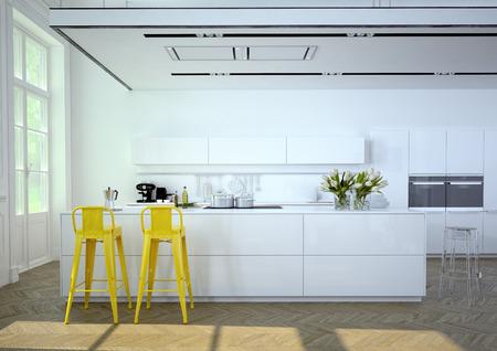 Luxuriöse Küche mit Küchengeräten aus Edelstahl in einer Wohnung. 3D-Rendering
