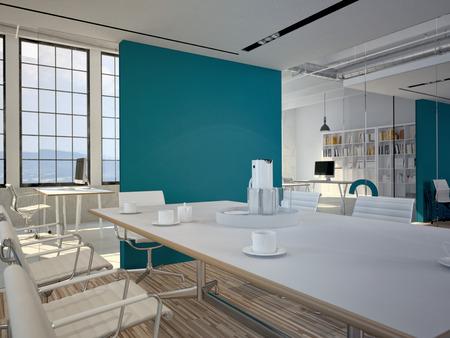 Konferenzsaalinnenraum mit einem concret Wand. 3D-Rendering Lizenzfreie Bilder